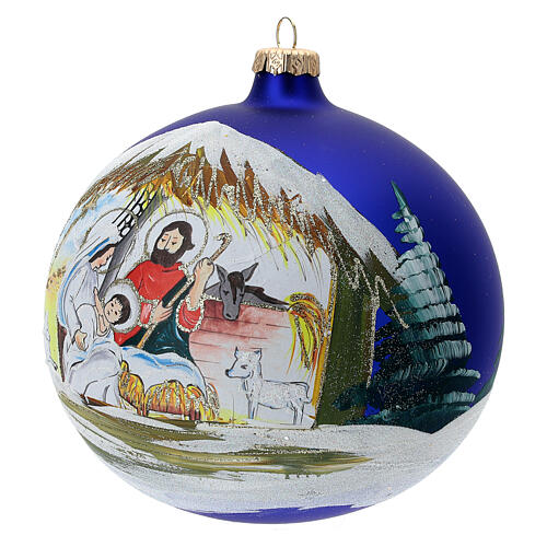Christmas tree ball Nativity hut blown glass 150 mm 3