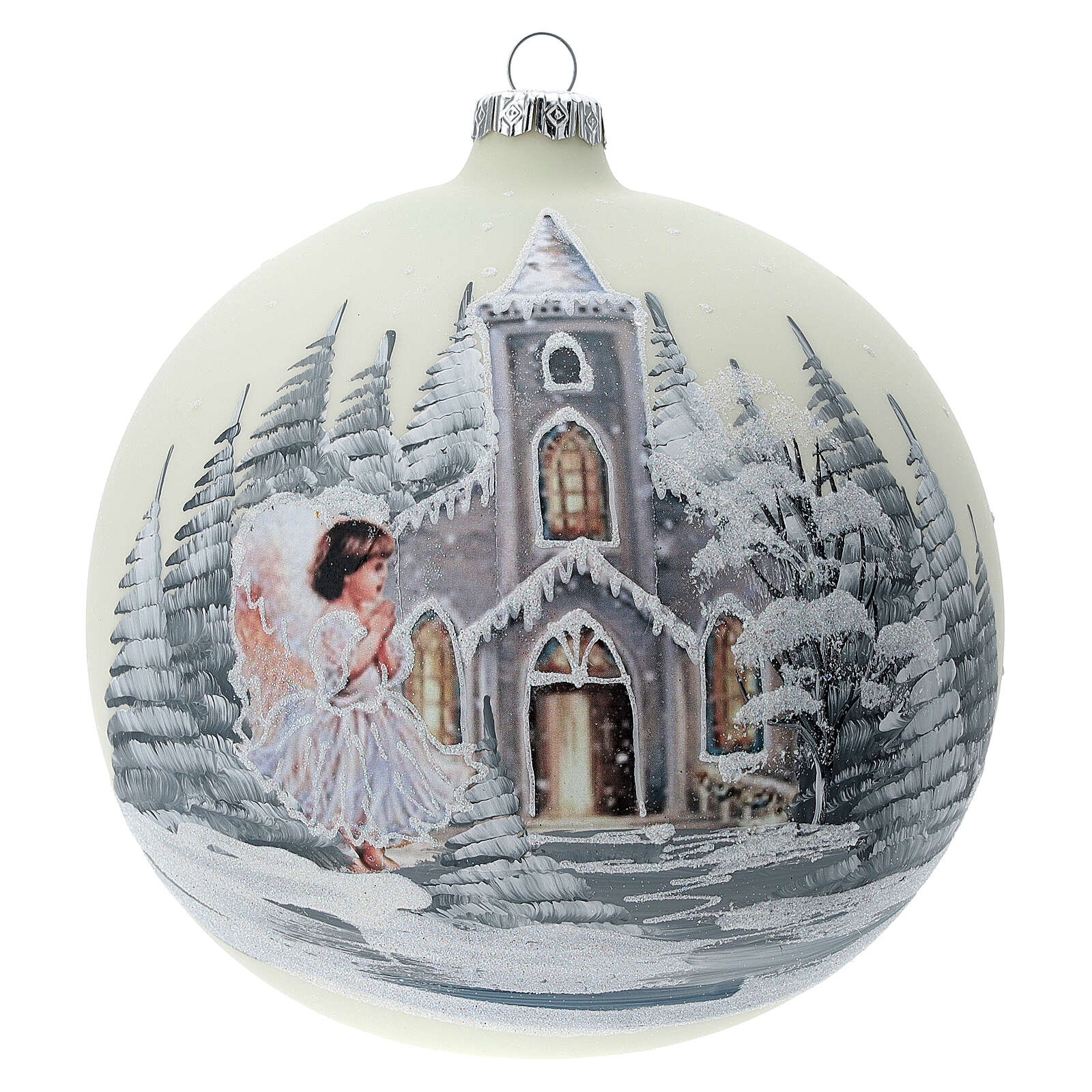 Boule Noël blanche église ange verre soufflé 150 mm 4
