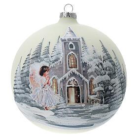 Boule Noël blanche église ange verre soufflé 150 mm s1