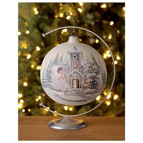 Boule Noël blanche église ange verre soufflé 150 mm s2