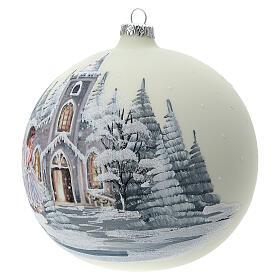 Boule Noël blanche église ange verre soufflé 150 mm s3