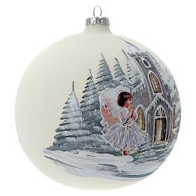 Boule Noël blanche église ange verre soufflé 150 mm s4