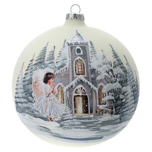 Boule Noël blanche église ange verre soufflé 150 mm 1