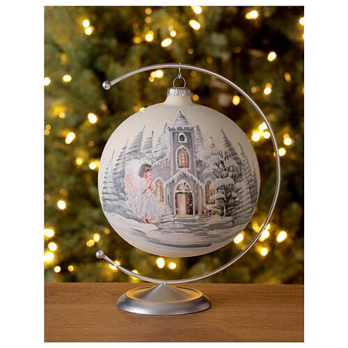 Boule Noël blanche église ange verre soufflé 150 mm 2