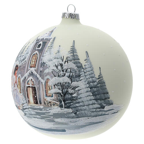 Boule Noël blanche église ange verre soufflé 150 mm 3