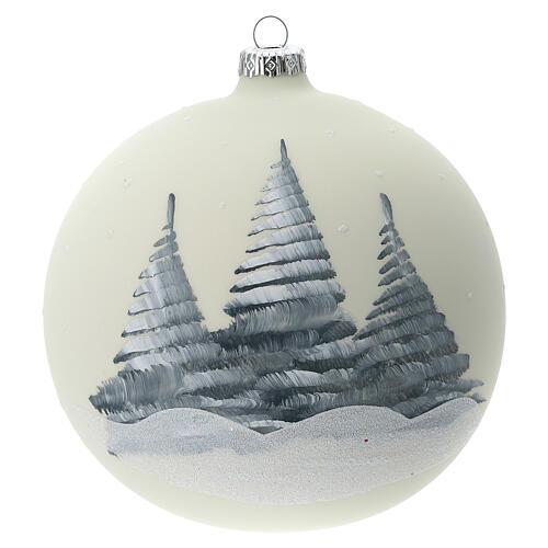 Boule Noël blanche église ange verre soufflé 150 mm 5