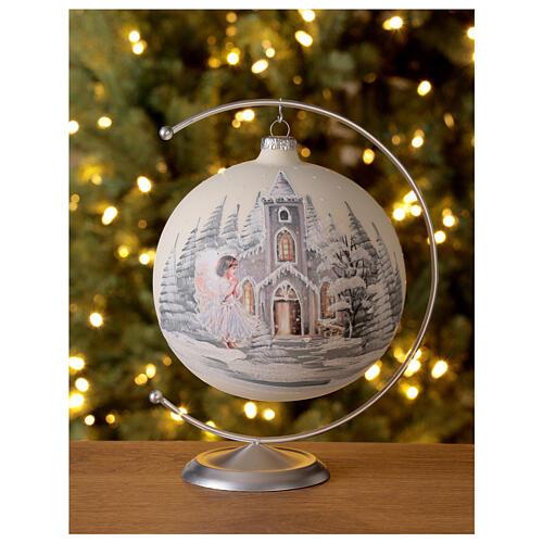 Bola árvore de Natal igreja anjo vidro soprado 150 mm 2