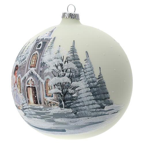 Bola árvore de Natal igreja anjo vidro soprado 150 mm 3