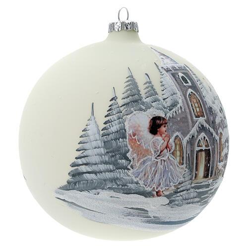Bola árvore de Natal igreja anjo vidro soprado 150 mm 4