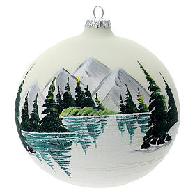 Glass ball ornament alpine lake 150 mm s1