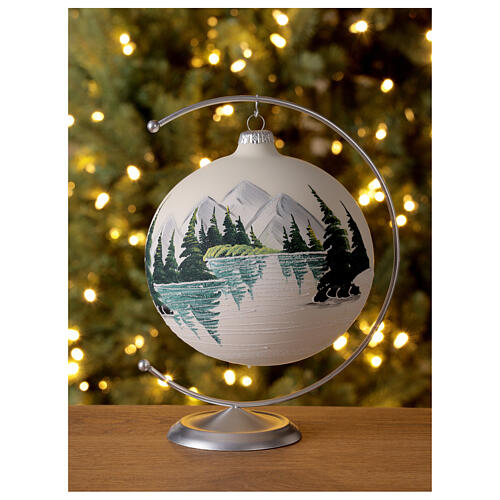 Glass ball ornament alpine lake 150 mm 2