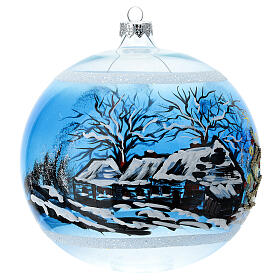 Christmas ball snow-covered tree house blown glass 150 mm s4