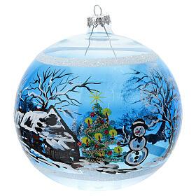 Boule Noël maison enneigé sapin et bonhomme de neige verre soufflé 150 mm s1
