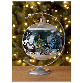 Boule Noël maison enneigé sapin et bonhomme de neige verre soufflé 150 mm s2