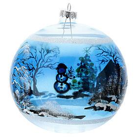 Boule Noël maison enneigé sapin et bonhomme de neige verre soufflé 150 mm s5