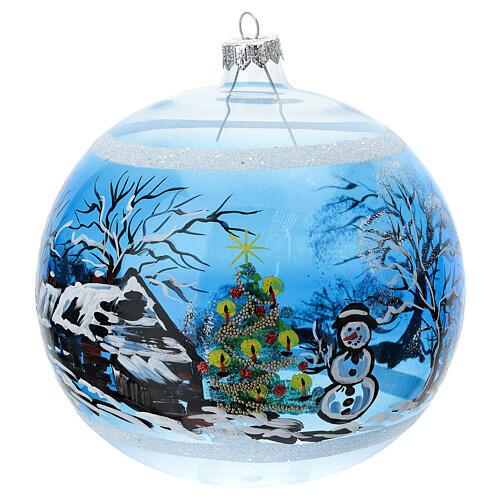 Boule Noël maison enneigé sapin et bonhomme de neige verre soufflé 150 mm 1