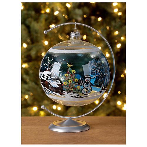 Boule Noël maison enneigé sapin et bonhomme de neige verre soufflé 150 mm 2