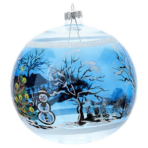 Boule Noël maison enneigé sapin et bonhomme de neige verre soufflé 150 mm 3