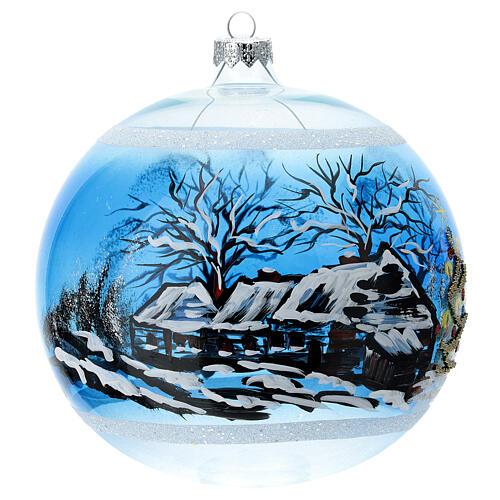 Boule Noël maison enneigé sapin et bonhomme de neige verre soufflé 150 mm 4