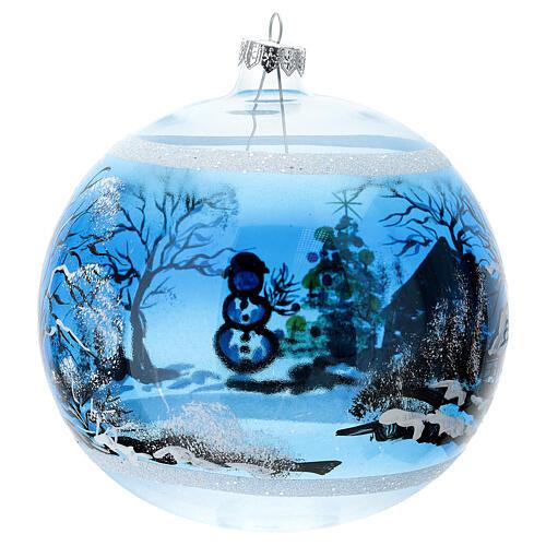 Boule Noël maison enneigé sapin et bonhomme de neige verre soufflé 150 mm 5