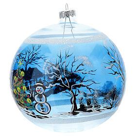 Bola árvore de Natal casa nevada e árvore com estrela vidro soprado 150 mm s3