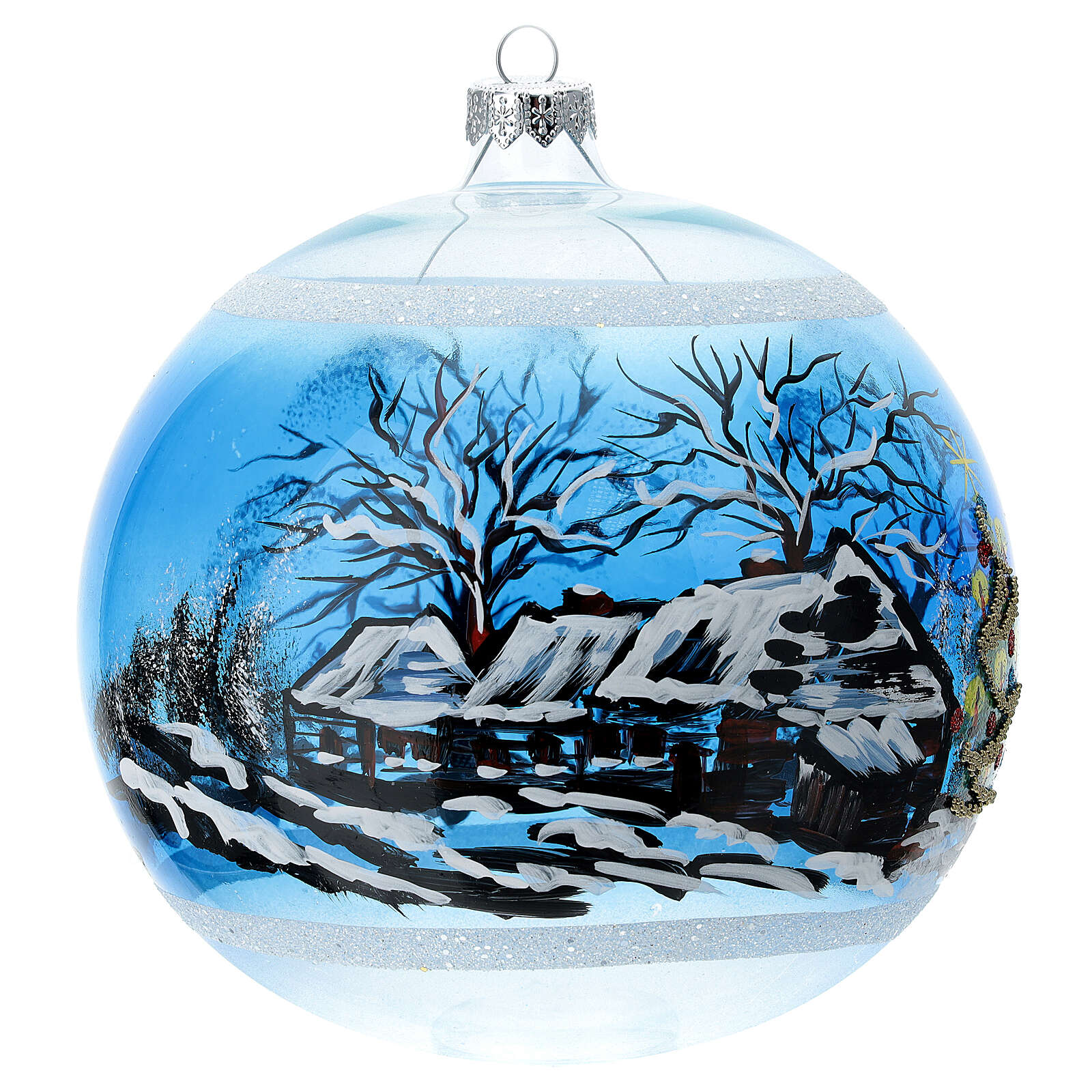 Christmas tree ornament snowy village houses blown glass 150 mm 4