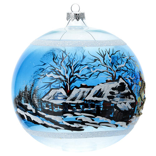 Christmas tree ornament snowy village houses blown glass 150 mm 3
