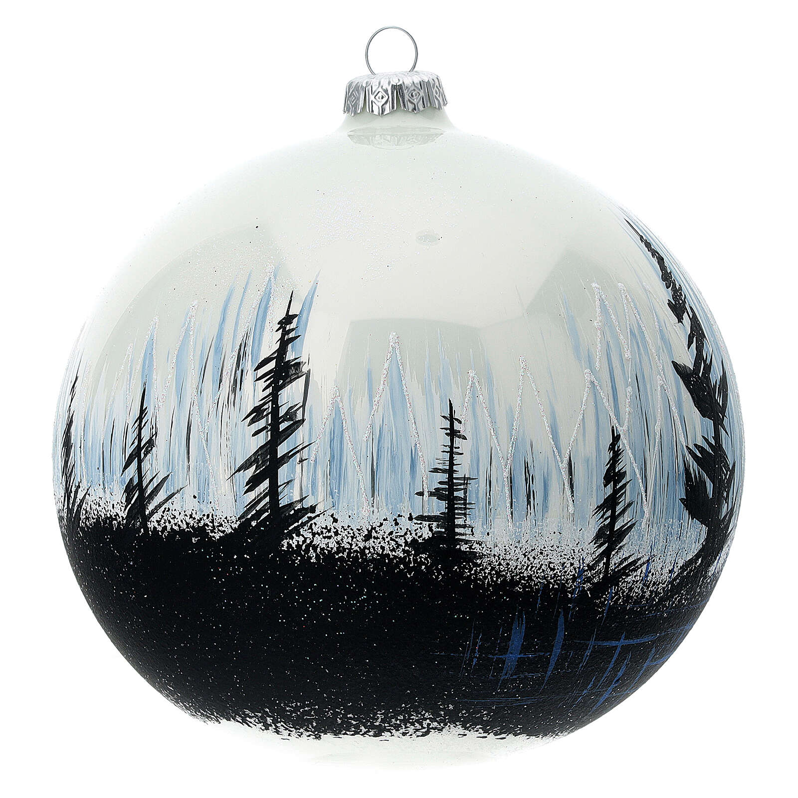 Boule Noël arbres contraste verre soufflé 150 mm 4