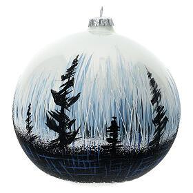 Boule Noël arbres contraste verre soufflé 150 mm s1