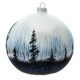Boule Noël arbres contraste verre soufflé 150 mm s2