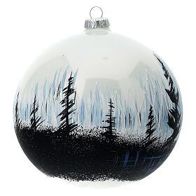 Boule Noël arbres contraste verre soufflé 150 mm s3