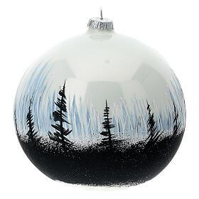 Boule Noël arbres contraste verre soufflé 150 mm s4