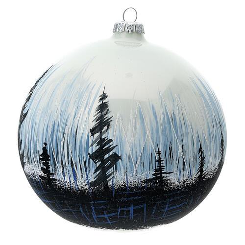 Boule Noël arbres contraste verre soufflé 150 mm 2