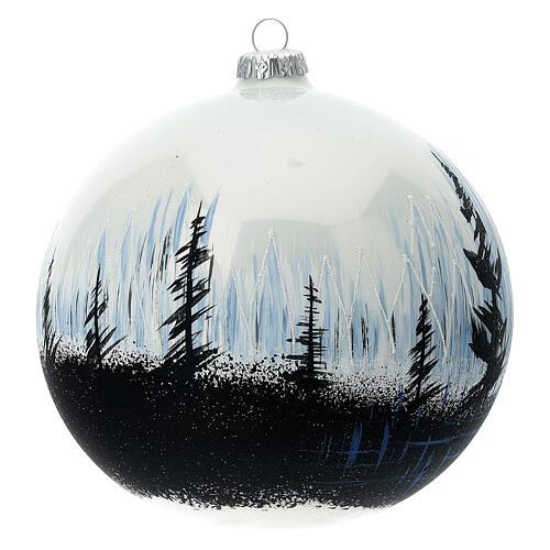 Boule Noël arbres contraste verre soufflé 150 mm 3