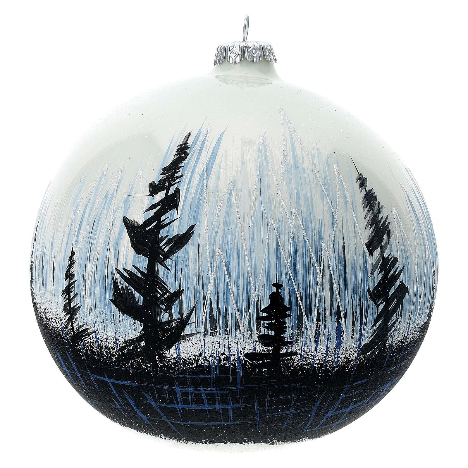 Pallina Natale alberi contrasto vetro soffiato 150 mm 4