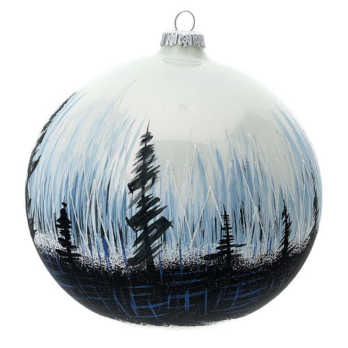 Christmas ball ornament contrasting trees blown glass 150 mm 2