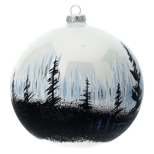 Christmas ball ornament contrasting trees blown glass 150 mm 3