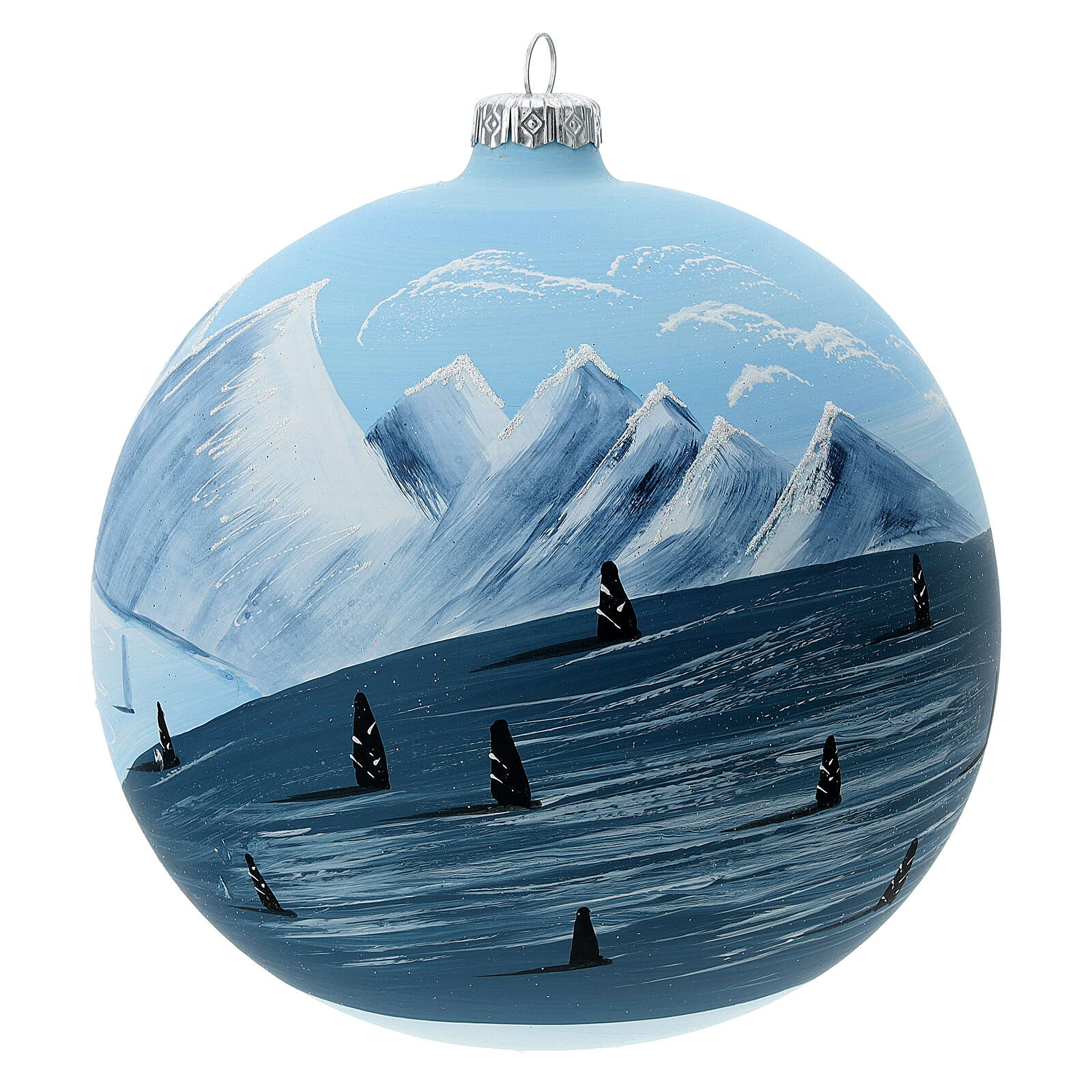 Christmas ball green mountain slope blown glass 150 mm 4