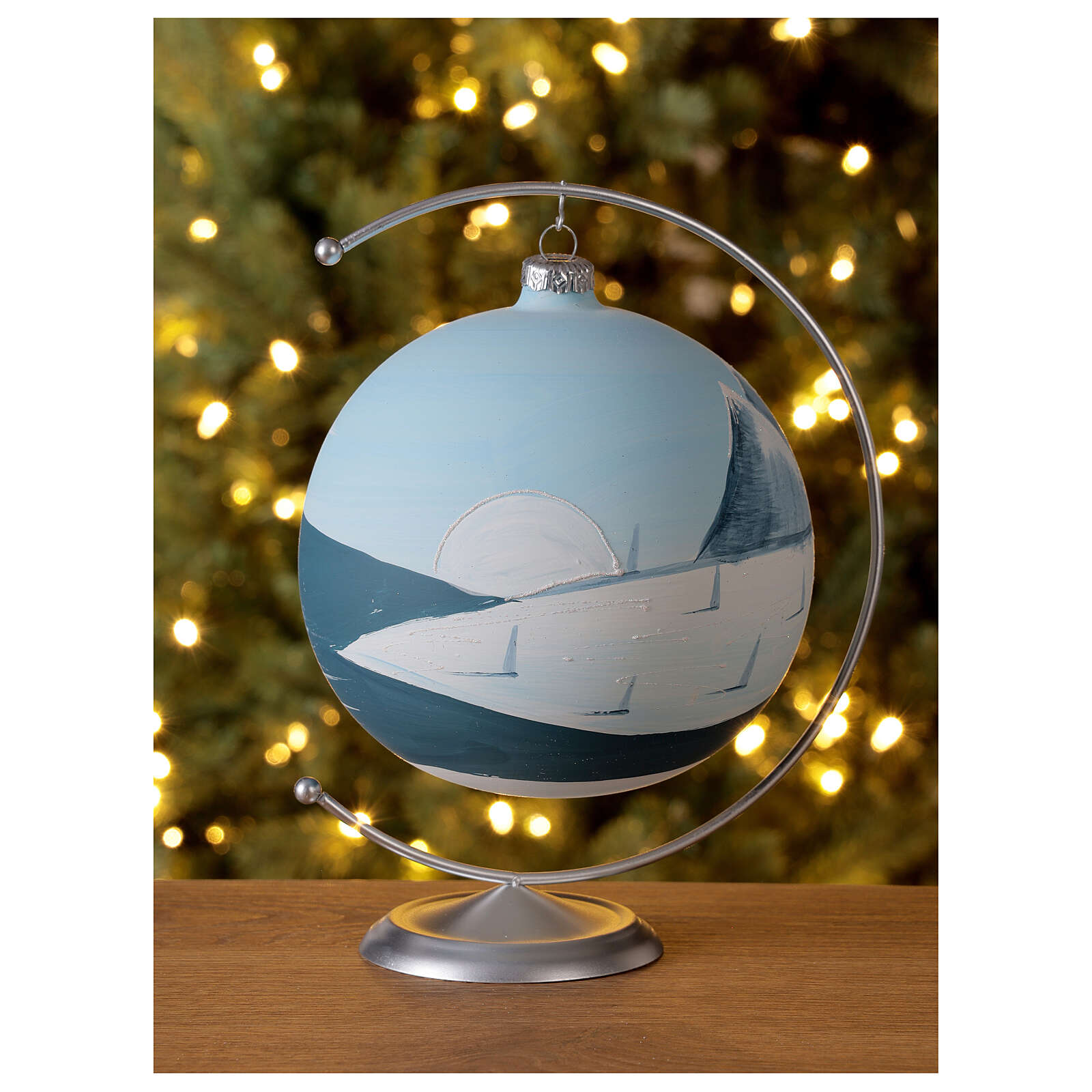 Christmas ball ornament winter slopes green mountains blown glass 150 mm 4