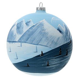 Christmas ball ornament winter slopes green mountains blown glass 150 mm s1