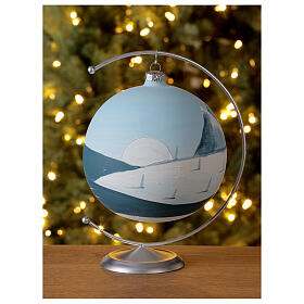 Christmas ball ornament winter slopes green mountains blown glass 150 mm s2