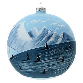 Christmas ball ornament winter slopes green mountains blown glass 150 mm s3