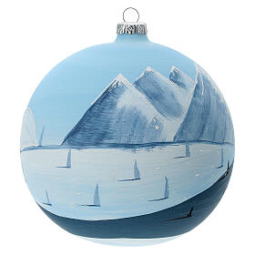 Christmas ball ornament winter slopes green mountains blown glass 150 mm s4