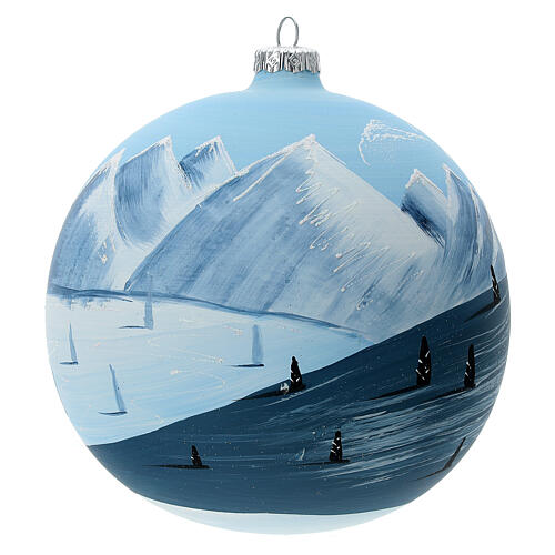 Christmas ball ornament winter slopes green mountains blown glass 150 mm 1