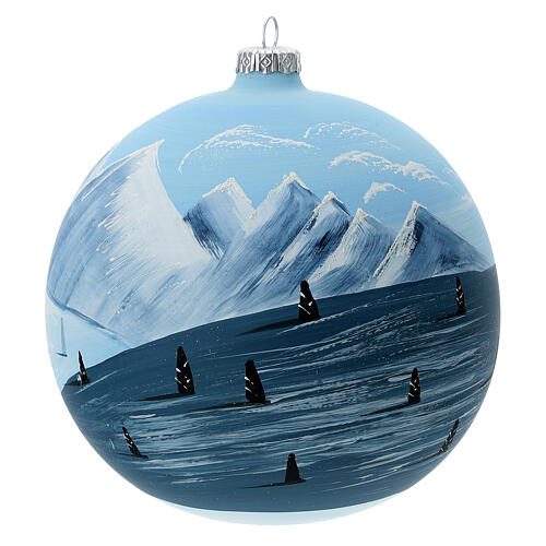Christmas ball ornament winter slopes green mountains blown glass 150 mm 3