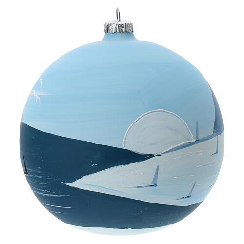 Christmas ball ornament winter slopes green mountains blown glass 150 mm 5