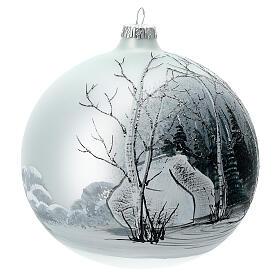 Boule sapin Noël forêt blanc noir verre soufflé 150 mm s3