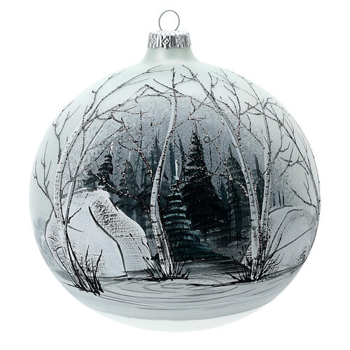Boule sapin Noël forêt blanc noir verre soufflé 150 mm 1