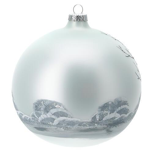 Boule sapin Noël forêt blanc noir verre soufflé 150 mm 4