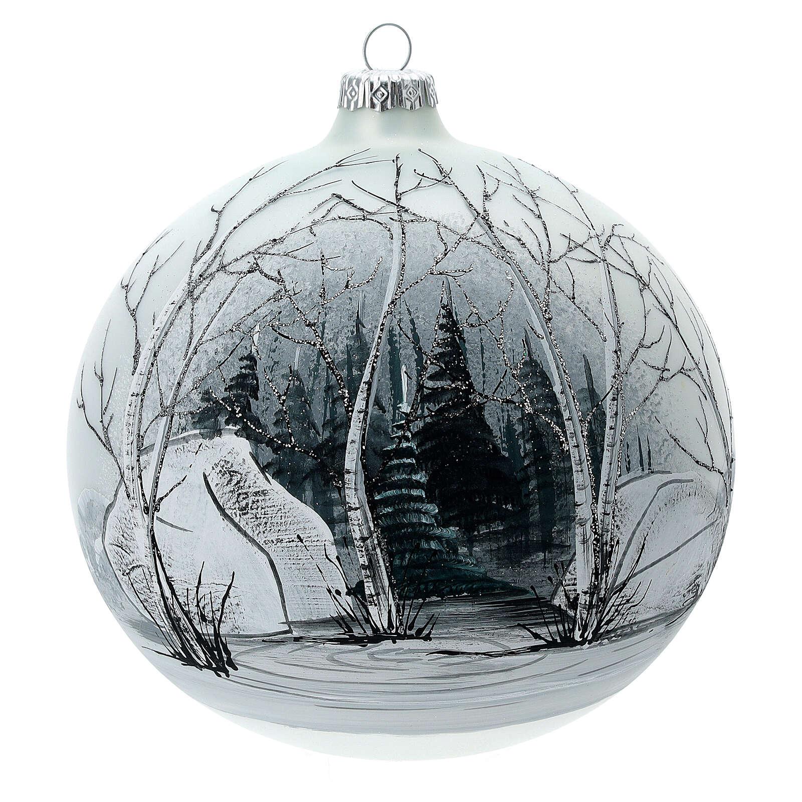 Pallina albero natale bosco bianco nero vetro soffiato 150 mm 4